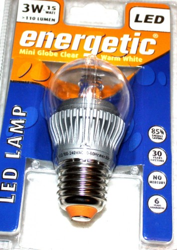 Energetic LED Lampe 3W High-Power E27 Glühlampe warmweiß klar, Energieklasse A